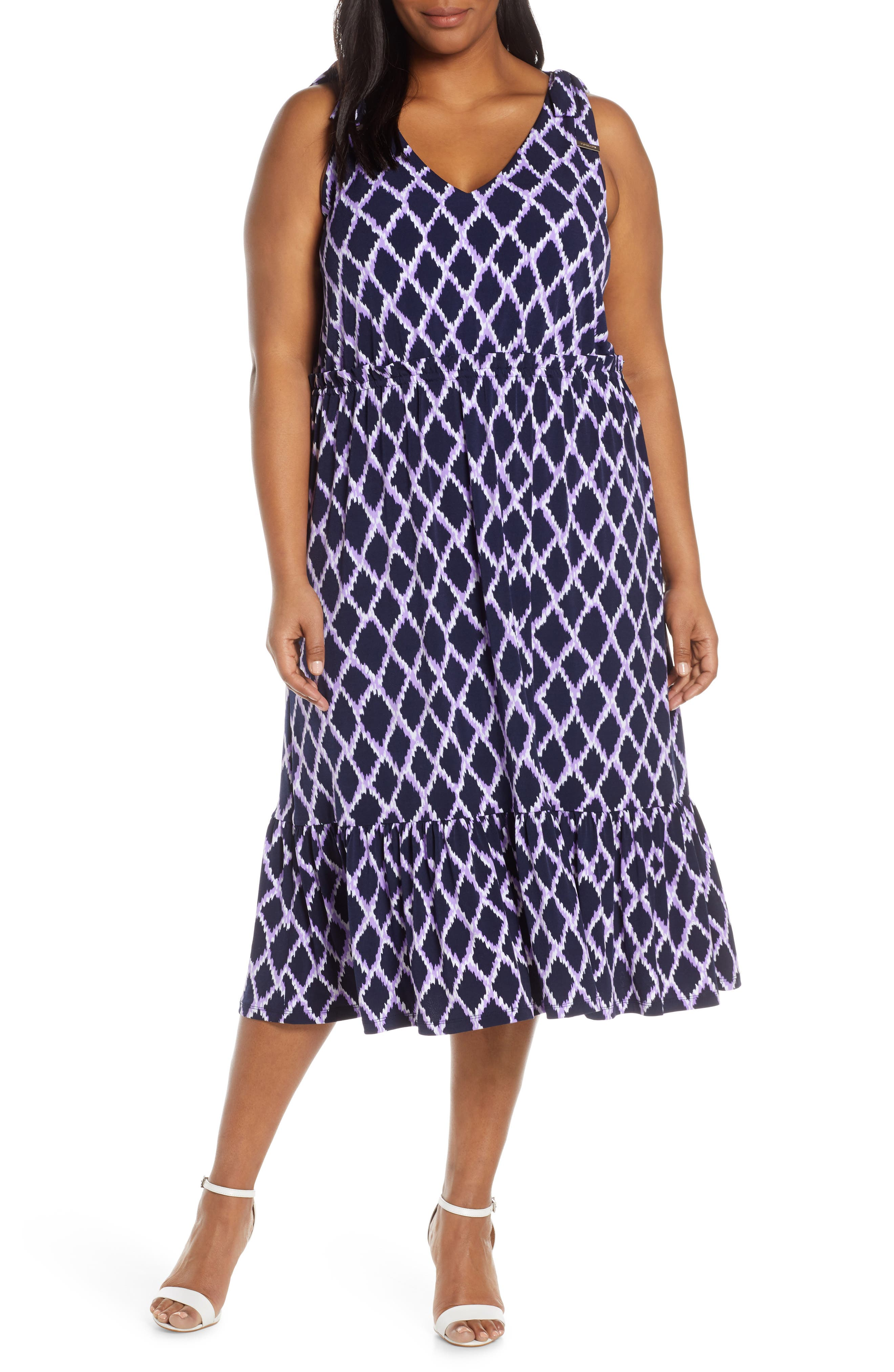 Plus Size Michael Michael Kors Diamond Pattern Ruffle Hem Sleeveless Midi Dress, Purple