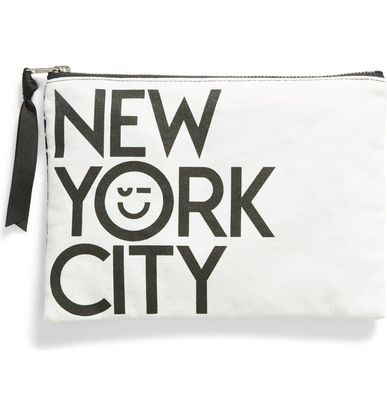 NORDSTROM Medium Canvas Zip Pouch, Main, color, WHITE NYC MULTI