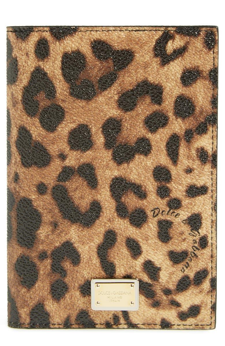 DOLCE&GABBANA Leopard Print Passport Cover, Main, color, 200