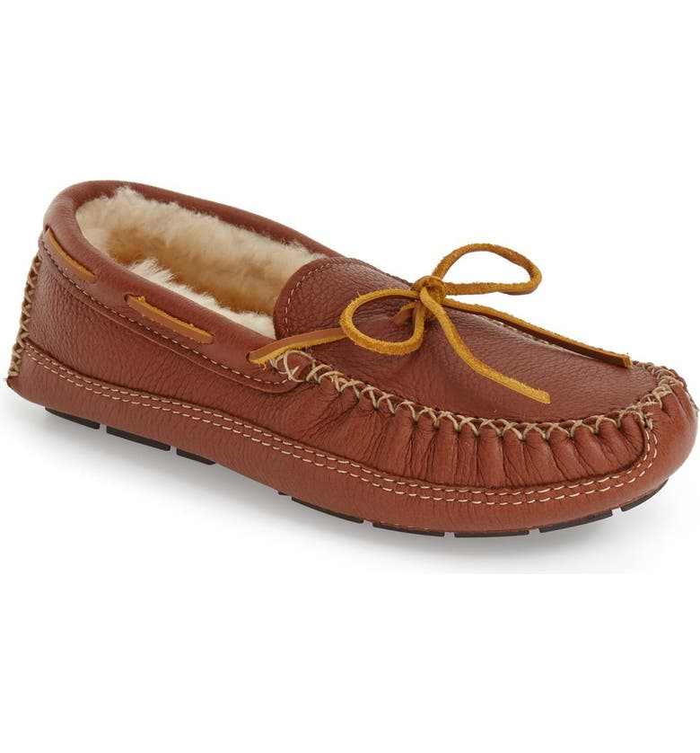 MINNETONKA Genuine Shearling Lined Leather Slipper, Main, color, CARMEL