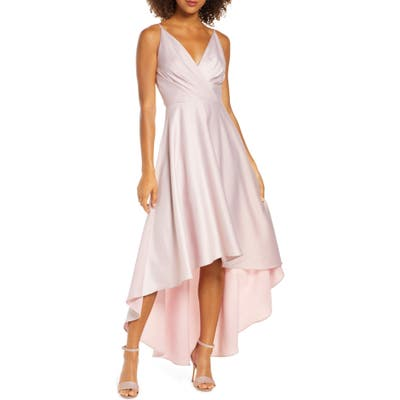 Chi Chi London Lucia Surplice High/low Satin Gown, Pink