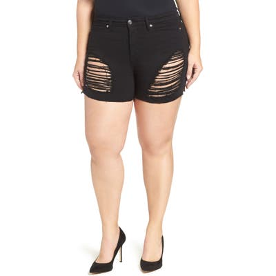 Plus Size Good American Destroyed Cutoff Denim Shorts, Black