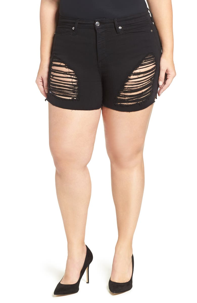GOOD AMERICAN Destroyed Cutoff Denim Shorts, Main, color, 001