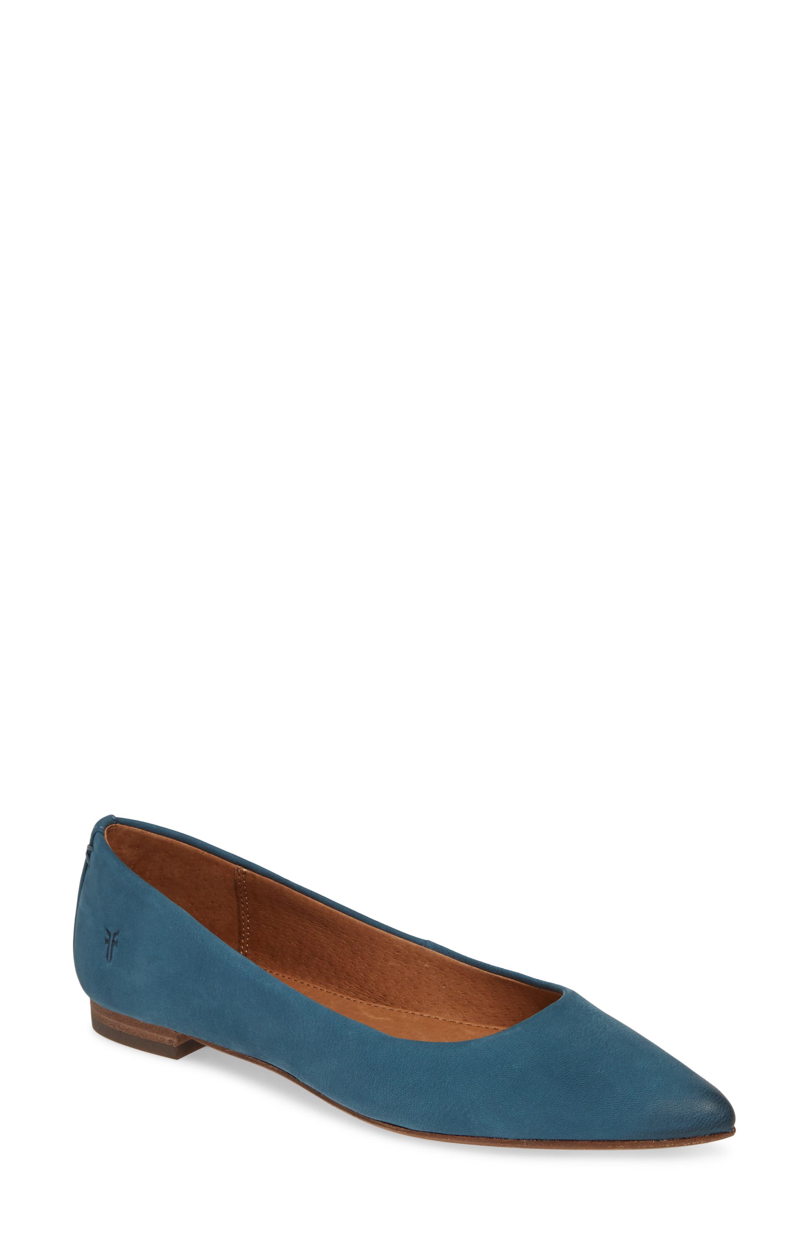 Frye Sienna Pointy Toe Ballet Flat, Blue/green