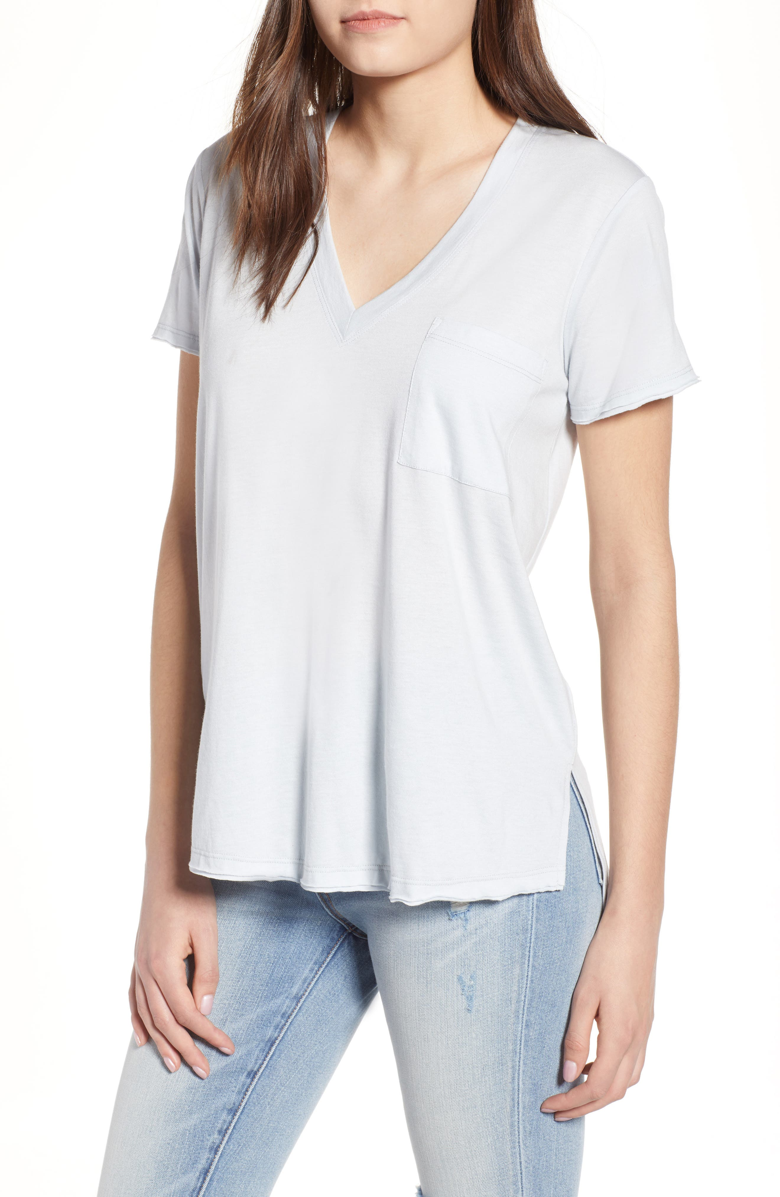 ,                             Raw Edge Side Slit Tee,                             Main thumbnail 1, color,                             073