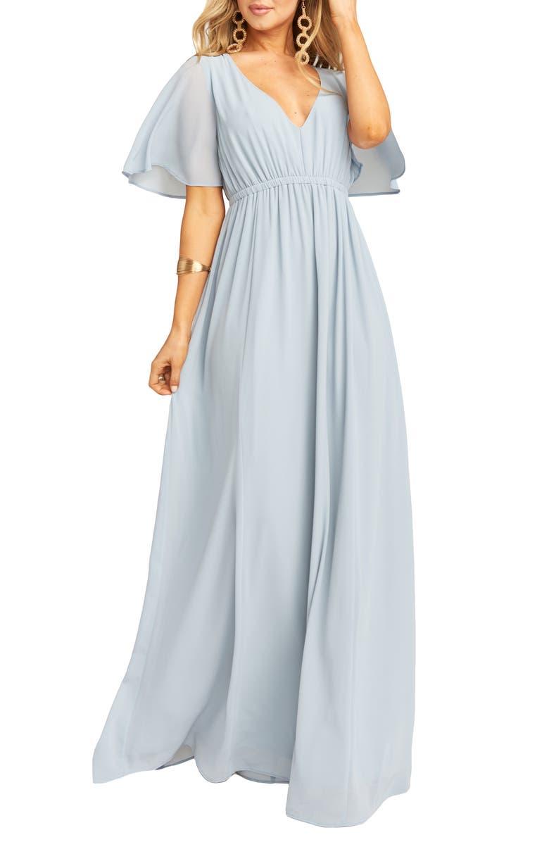 SHOW ME YOUR MUMU Emily Maxi Dress, Main, color, STEEL BLUE CHIFFON