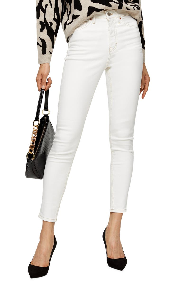 TOPSHOP Jamie High Waist Skinny Jeans, Main, color, CREAM