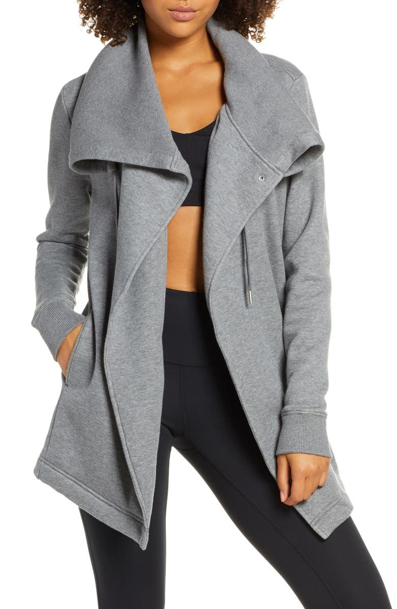 ZELLA Nola Wrap Sweatshirt, Main, color, GREY DARK HEATHER