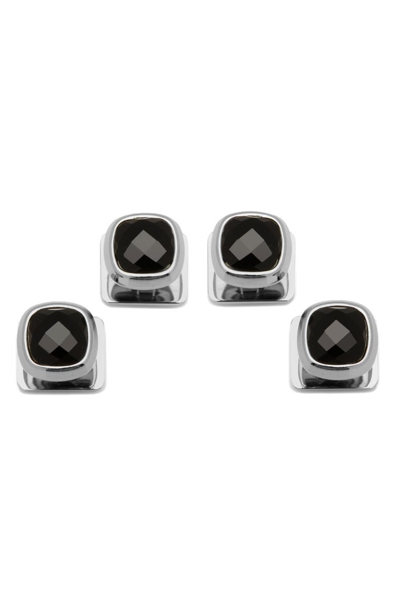 CUFFLINKS, INC. Onyx Shirt Studs, Main, color, BLACK