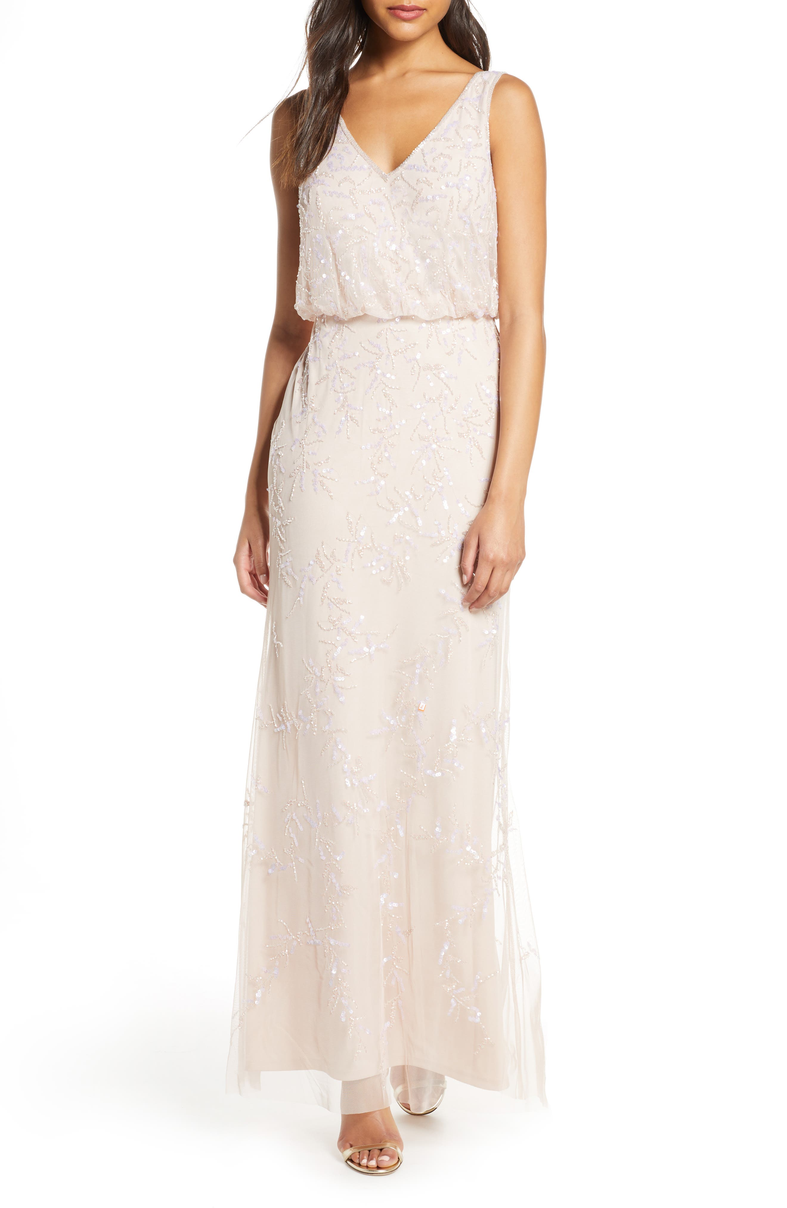 Adrianna Papell Embellished Blouson Gown, Pink