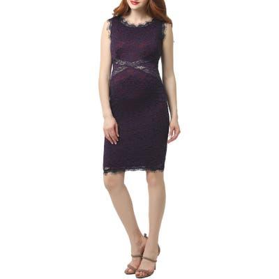 Kimi And Kai Lynn Lace Body-Con Maternity Dress, Purple
