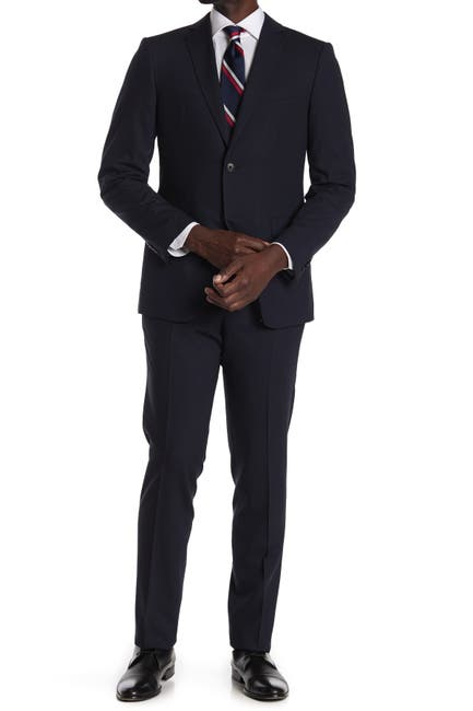 Image of John Varvatos Collection Navy Solid Two Button Notch Lapel Wool Suit
