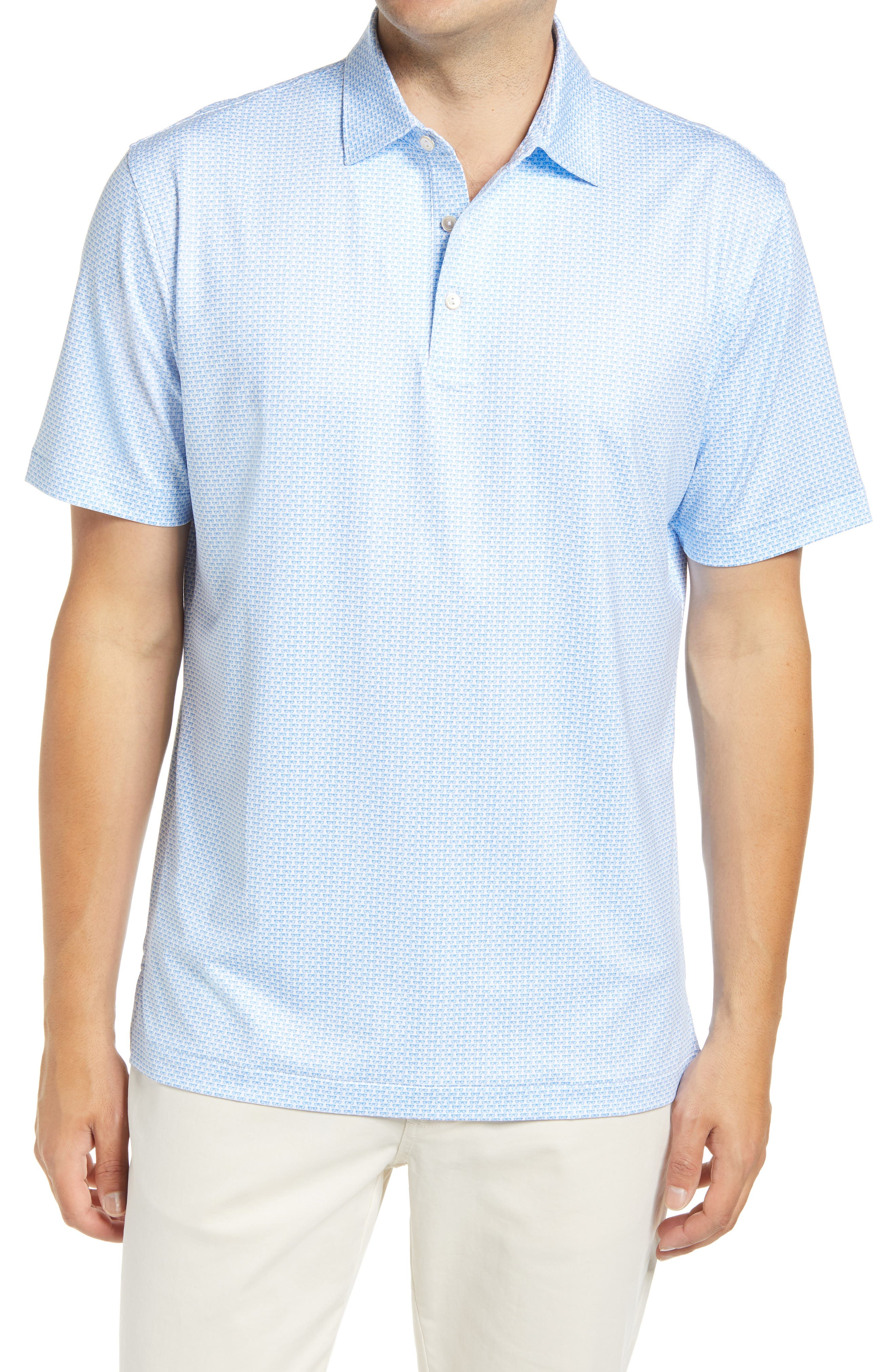Stretchy, moisture-wicking fabric keeps up with you from links to lunch in an all-activity golf polo sporting enhanced UV protection and a tiny sunglasses print. Style Name: Peter Millar Sasser Shades Print Performance Polo. Style Number: 6089525. Available in stores.
