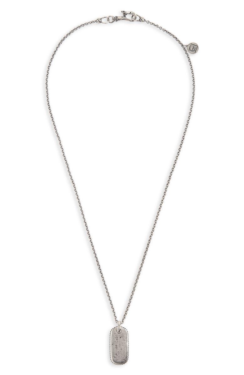 JOHN VARVATOS Dog Tag Pendant Necklace, Main, color, METALLIC SILVER