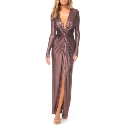 Katie May In A Mood Plunging Long Sleeve Metallic Gown, Purple