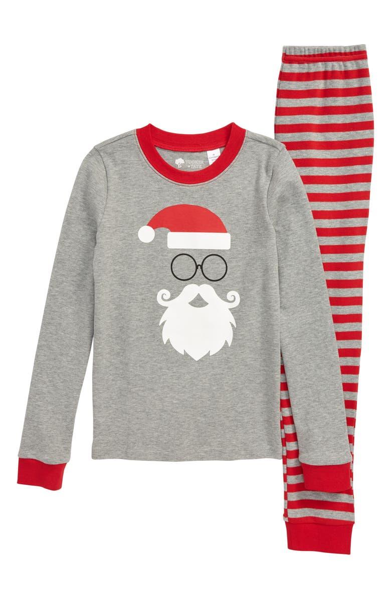 TUCKER + TATE Fitted Two-Piece Pajamas, Main, color, GREY MEDIUM HEATHER SANTA