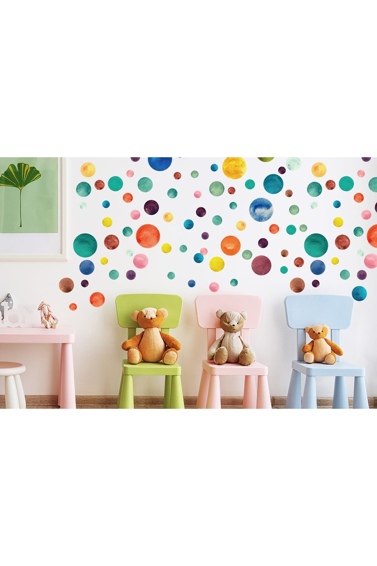Image of WalPlus Colorful Watercolour Dots Decor