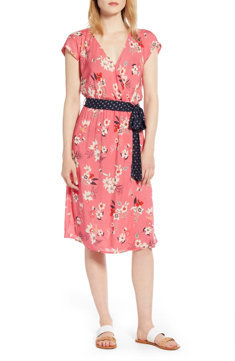 VELVET BY GRAHAM & SPENCER Floral Print Contrast Belt Dress, Main, color, 668