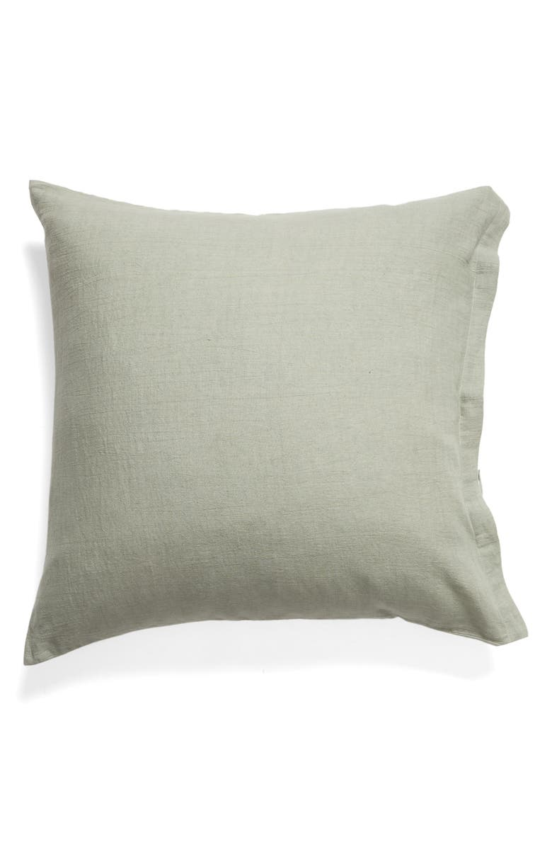 TREASURE & BOND Relaxed Cotton & Linen Euro Sham, Main, color, GREEN HALO