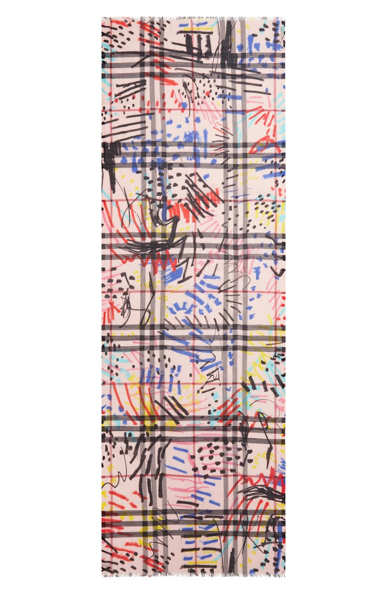 BURBERRY Graffiti Check Print Wool & Silk Scarf, Main, color, ROSE PINK