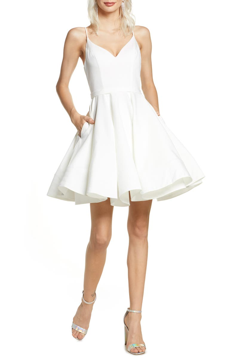 IEENA FOR MAC DUGGAL Mac Duggal Fit & Flare Party Dress, Main, color, WHITE