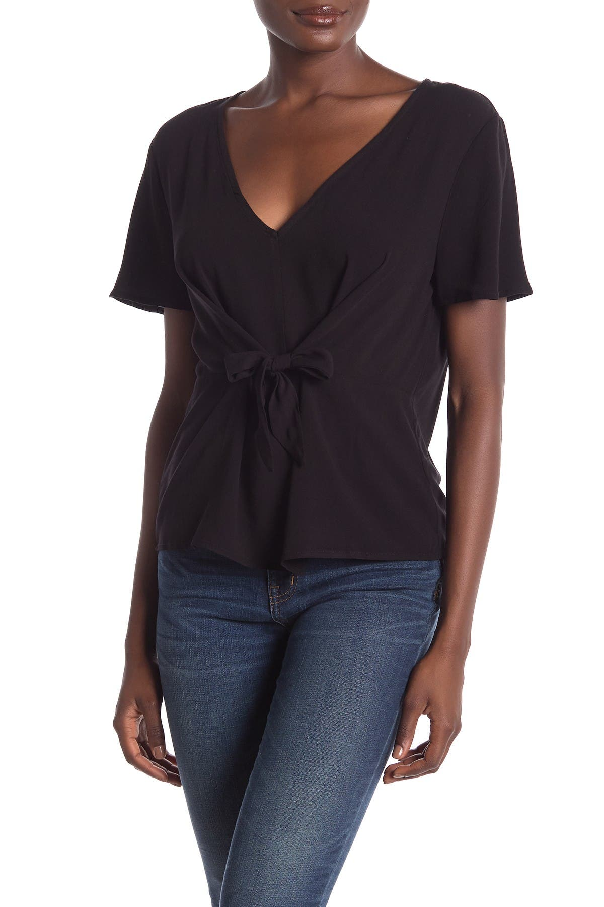 Image of 14th & Union V-Neck Tie Front Top