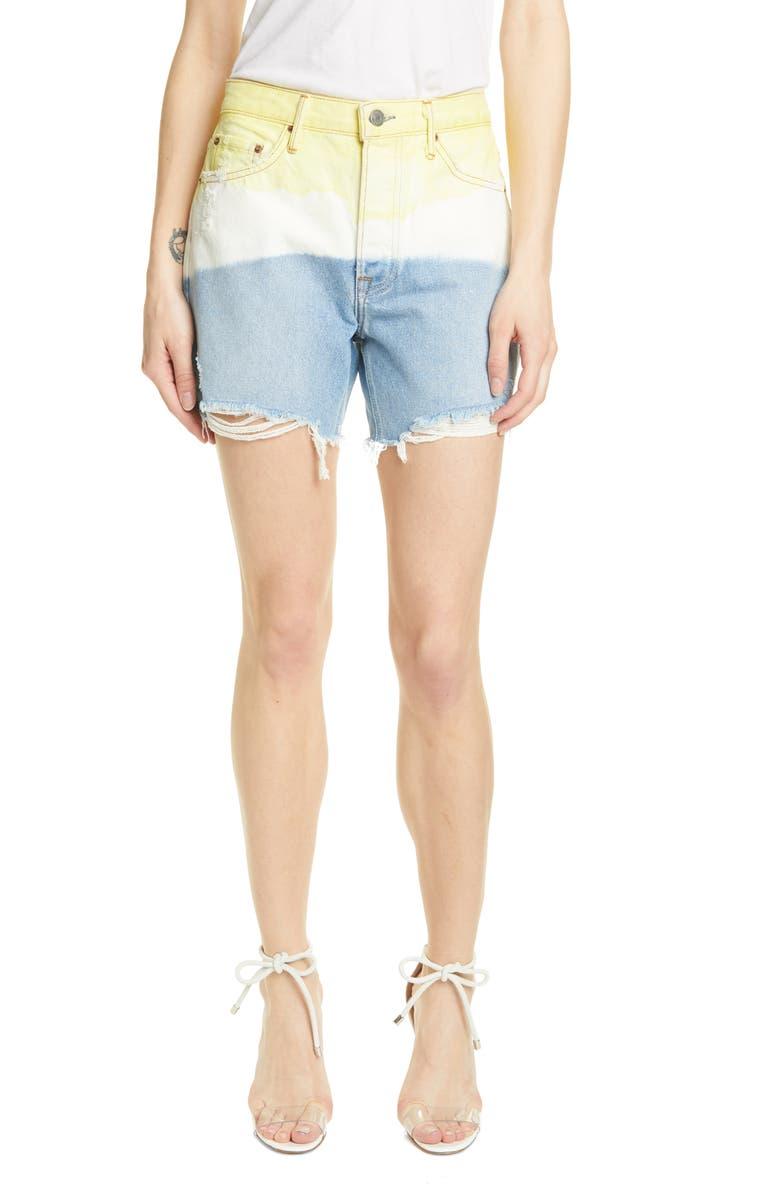 GRLFRND Jourdan Denim Shorts, Main, color, YELLOW HORIZON