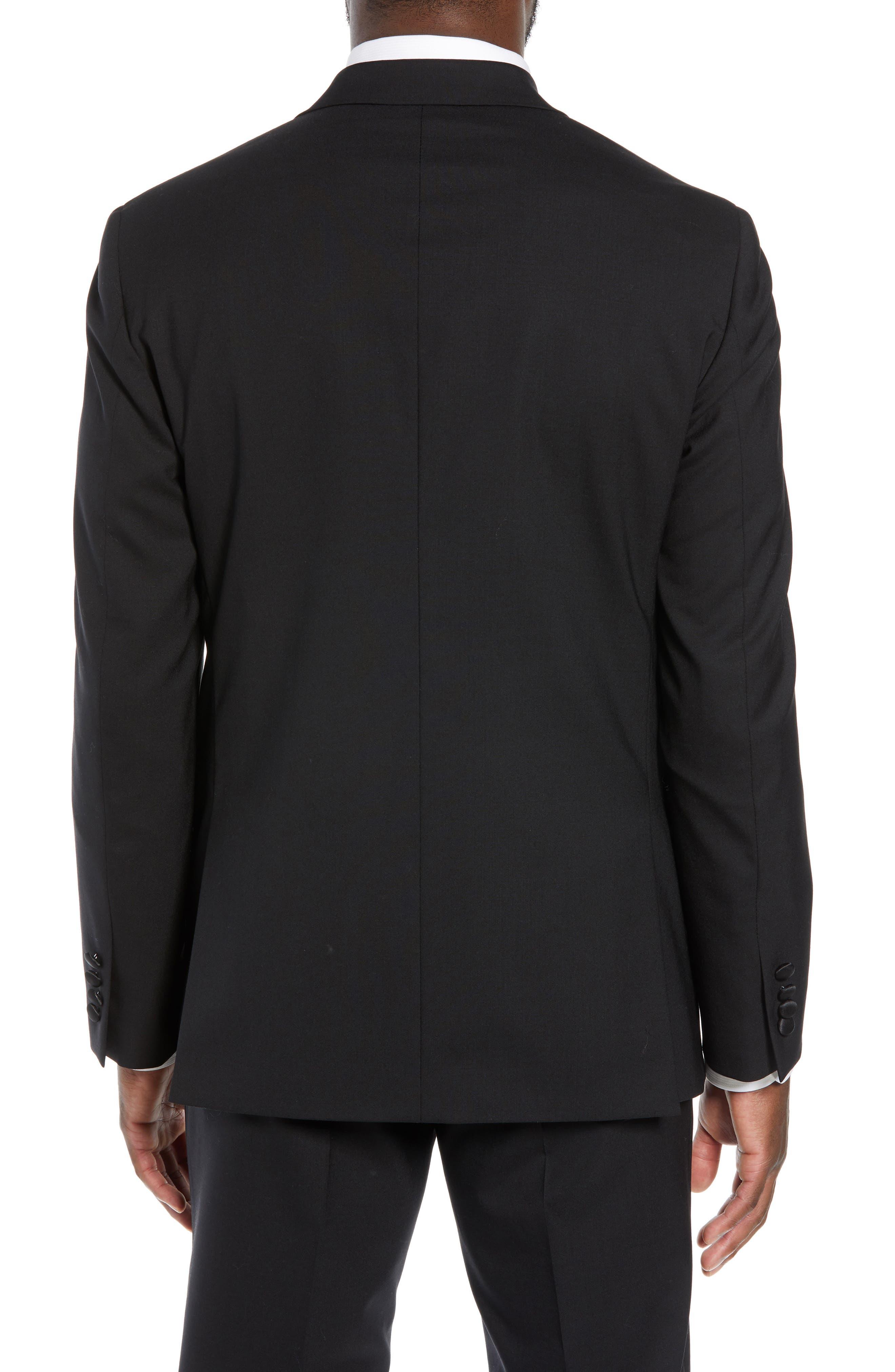 ,                             Trim Fit Stretch Wool Tuxedo Jacket,                             Alternate thumbnail 2, color,                             BLACK