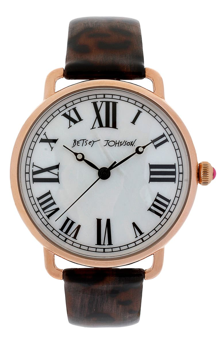 BETSEY JOHNSON Round Dial Leather Strap Watch, Main, color, Brown