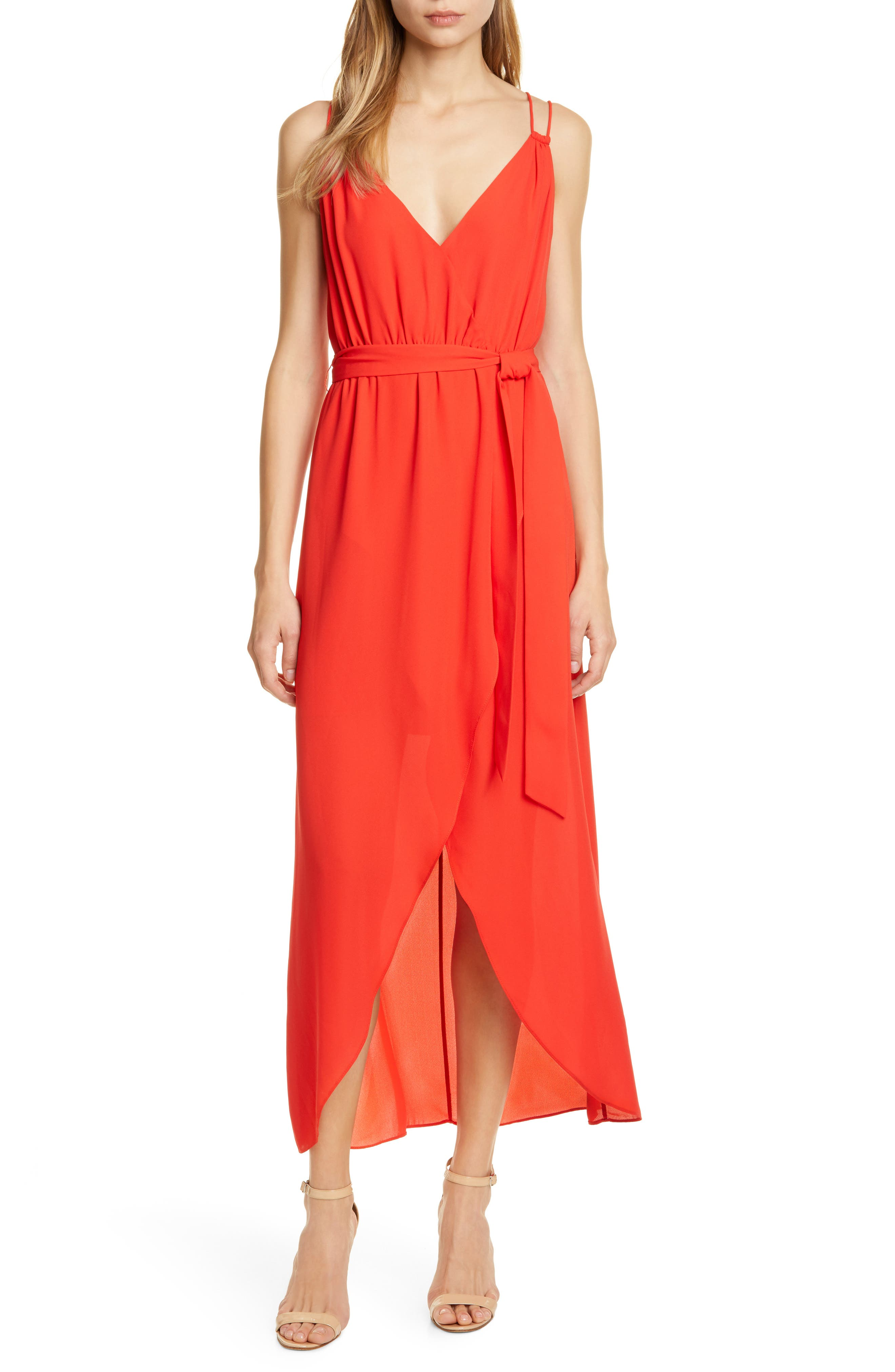 Alice + Olivia High/low Faux Wrap Dress, Red