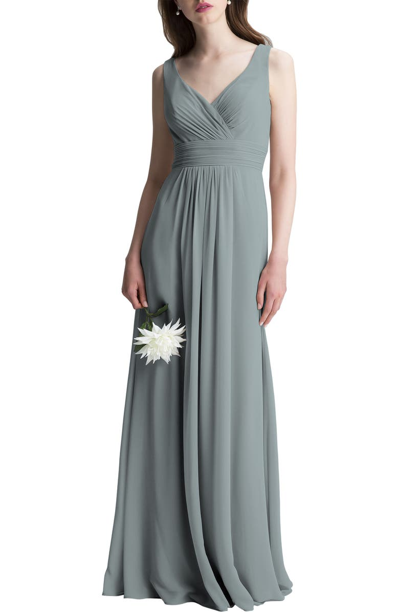 #LEVKOFF V-Neck Chiffon A-Line Gown, Main, color, SLATE