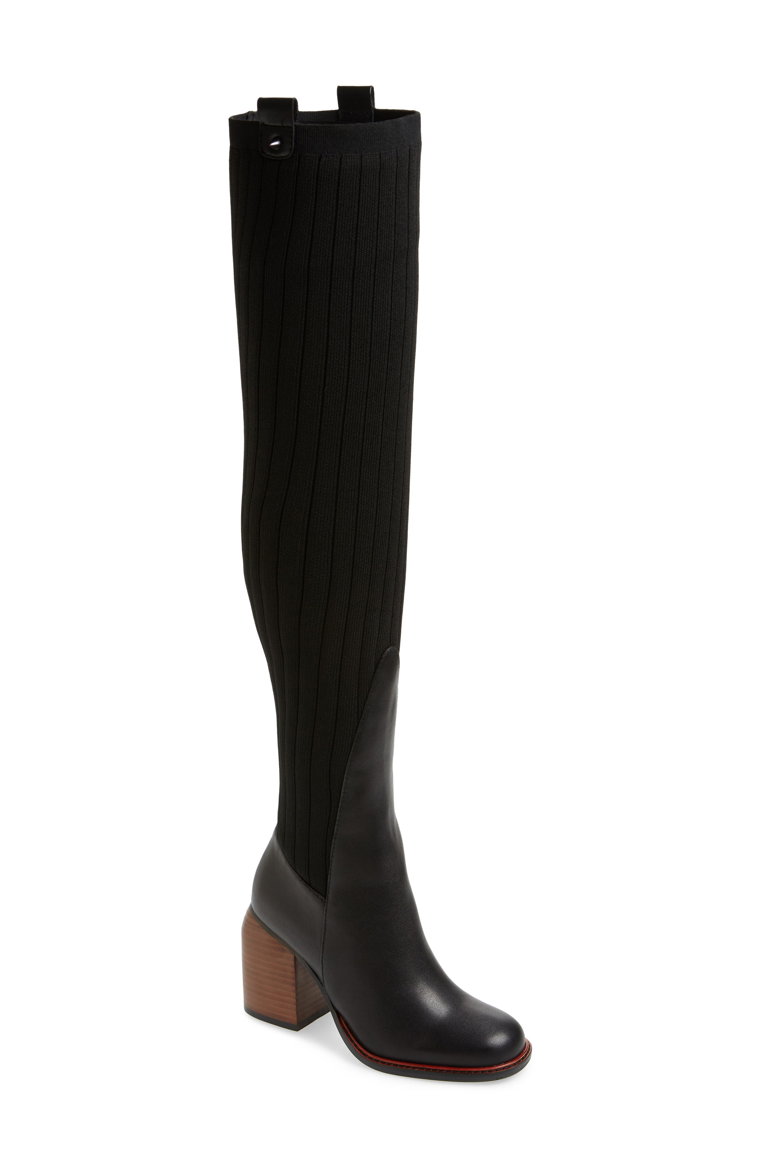 ,                             Over the Knee Knit Boot,                             Main thumbnail 1, color,                             001