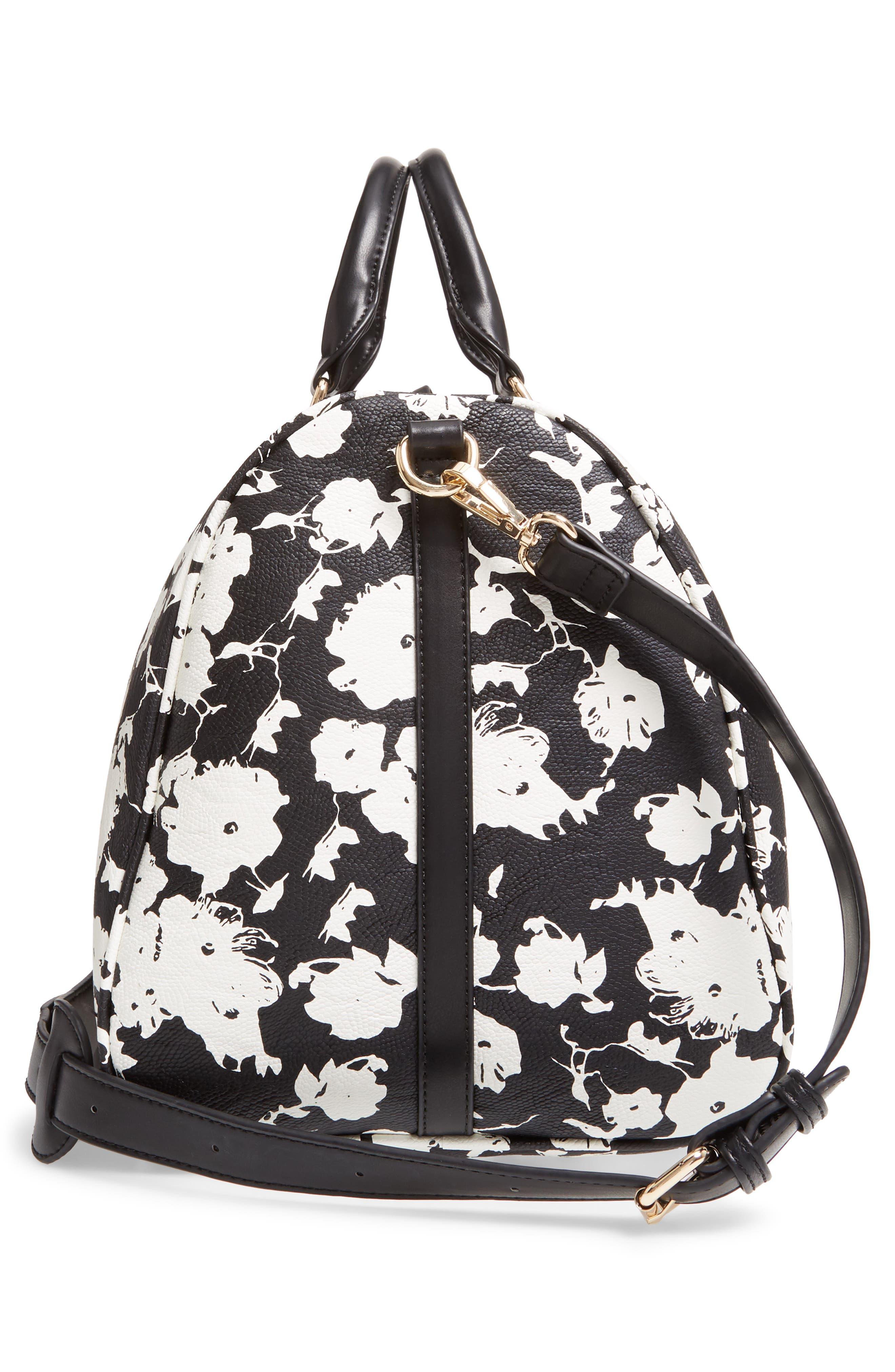 ,                             Cassidy Faux Leather Duffle Bag,                             Alternate thumbnail 5, color,                             BLACK FLORAL