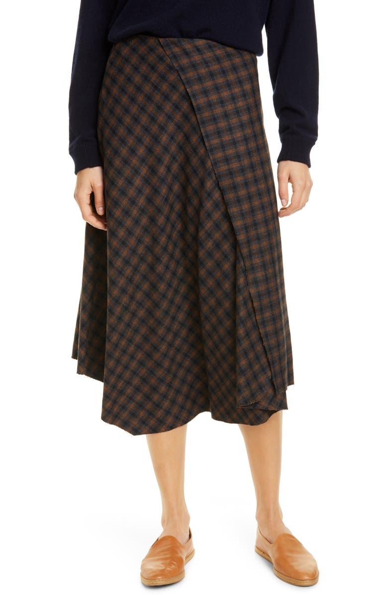 VINCE Drape Front Check Plaid Skirt, Main, color, MAHOGANY
