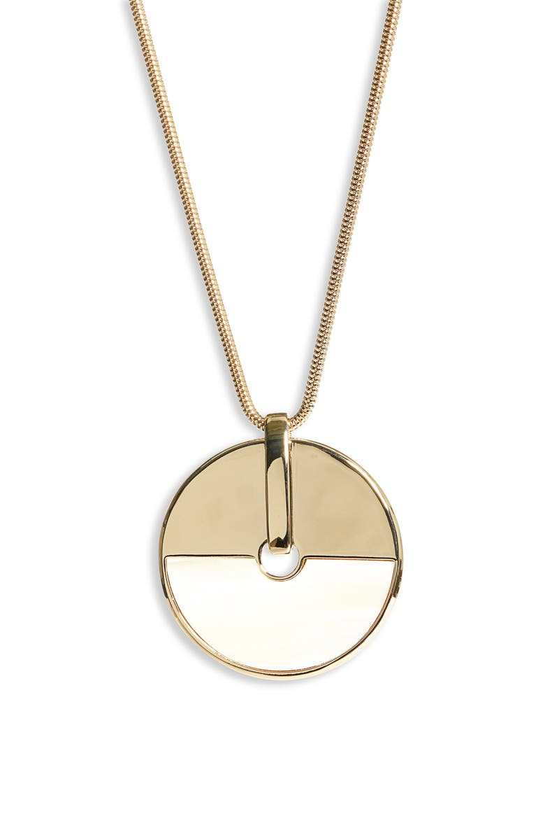 ST. JOHN COLLECTION Long Circle Pendant Necklace, Main, color, LIGHT GOLD/ BLACK/ WHITE