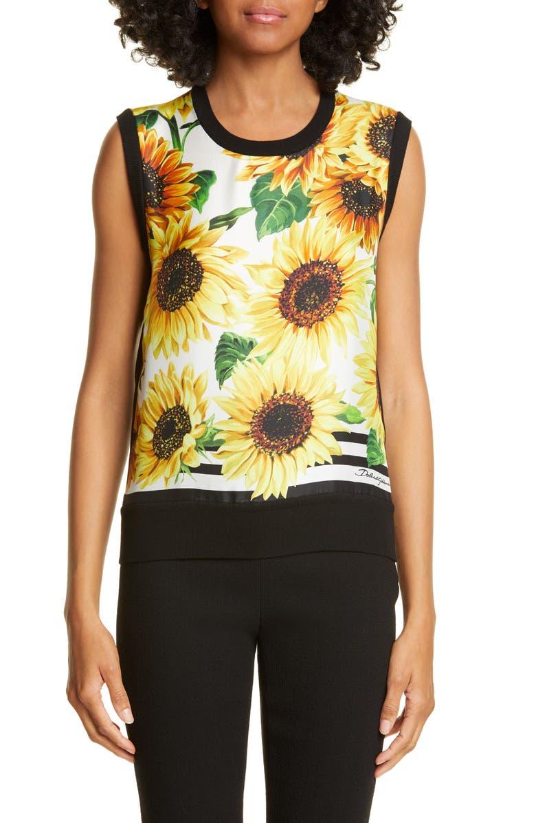 DOLCE&GABBANA Sunflower Print Sweater Tank, Main, color, SUNFLOWER