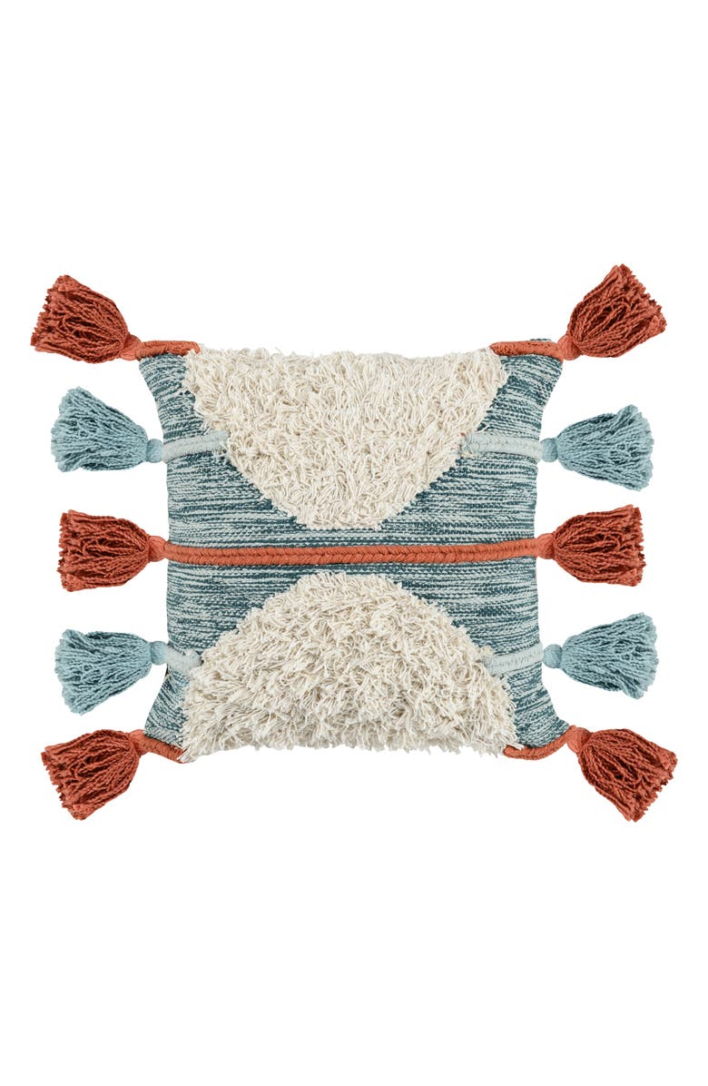 VILLA HOME COLLECTION Emira Accent Pillow, Main, color, SKY BLUE/ PERSIMMON