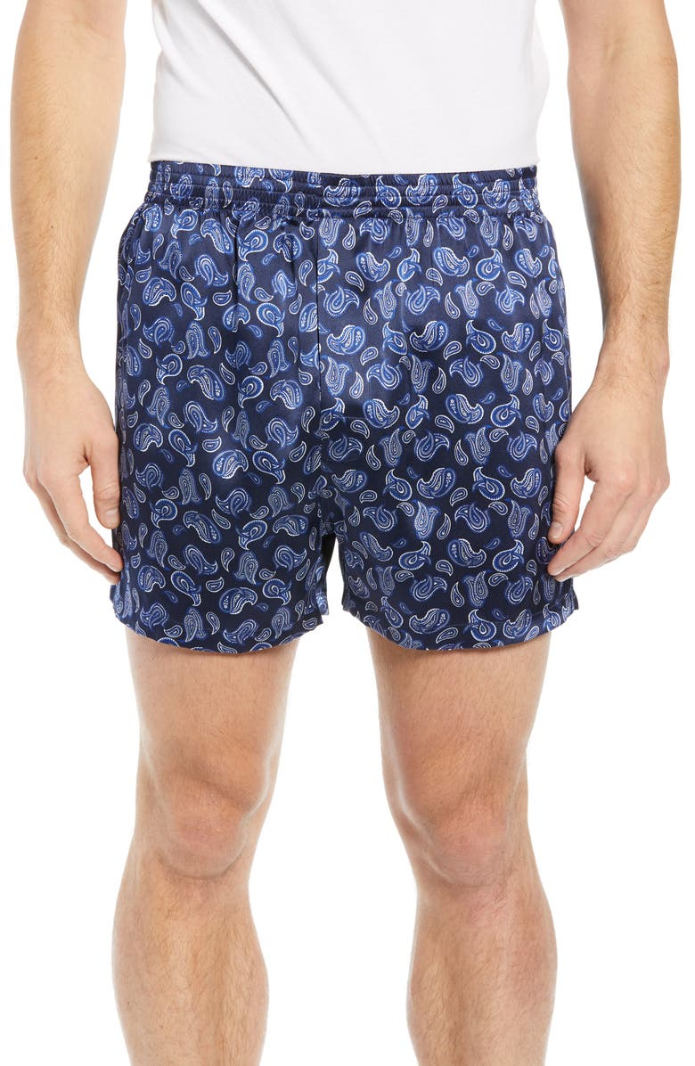 MAJESTIC INTERNATIONAL Sapphire Silk Boxers, Main, color, NAVY PAISLEY