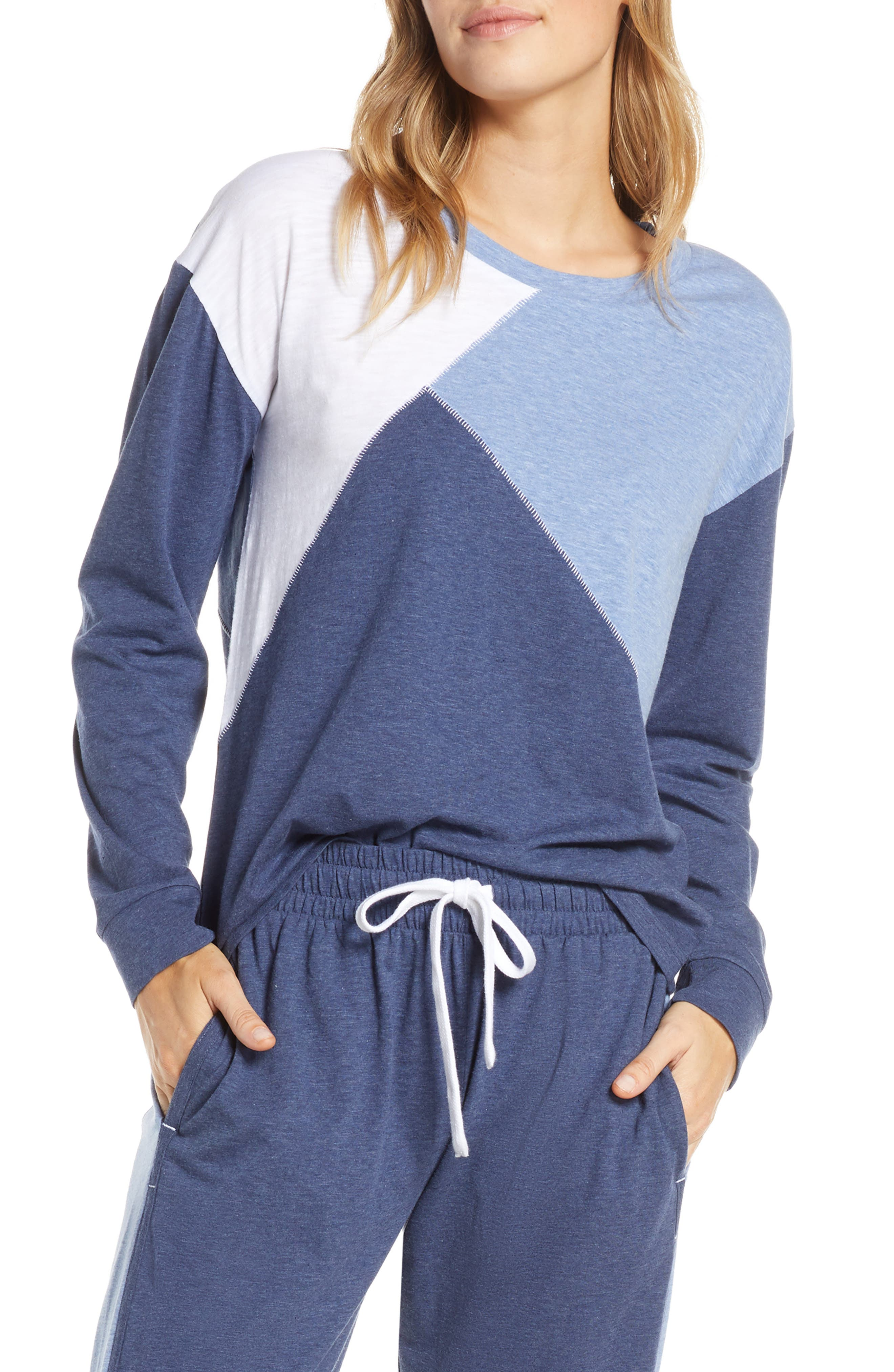 Splendid Colorblock Long Sleeve Pajama Top, Blue