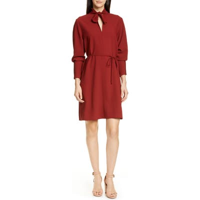 See By Chloe Tie Neck Belted Long Sleeve Crepe Dress, 6 FR - Red