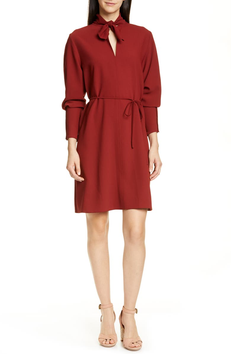 SEE BY CHLOÉ Tie Neck Belted Long Sleeve Crepe Dress, Main, color, BOYISH RED