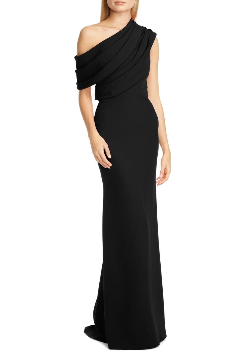 BADGLEY MISCHKA COLLECTION Badgley Mischka Draped One-Shoulder Gown, Main, color, 001