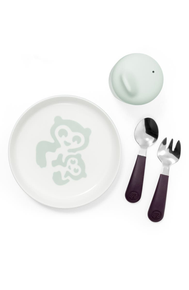 STOKKE Munch Essentials Sippy Cup, Plate, Fork & Spoon Set, Main, color, SOFT MINT