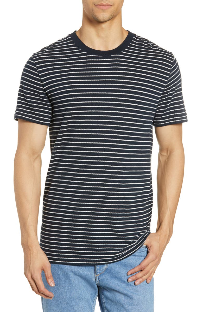 RAG & BONE Railroad Slim Fit Stripe T-Shirt, Main, color, DEEP NAVY/ IVORY