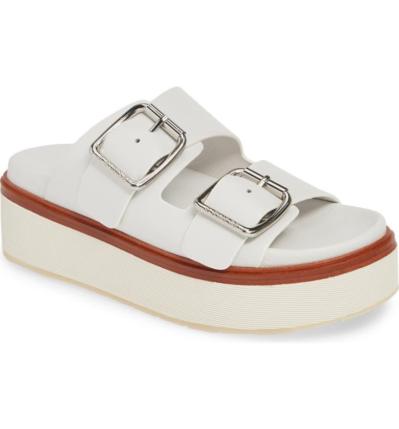 JSLIDES Bowie Platform Slide Sandal, Main, color, WHITE LEATHER