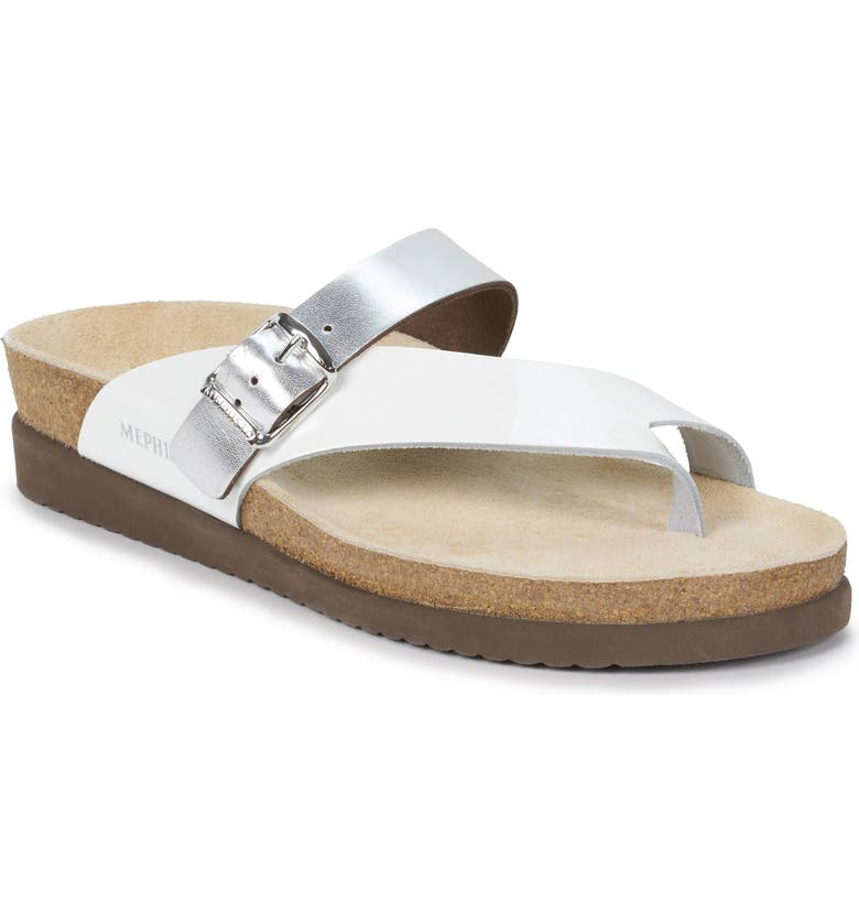 MEPHISTO Helen Mix Sandal, Main, color, WHITE/ NICKEL LEATHER
