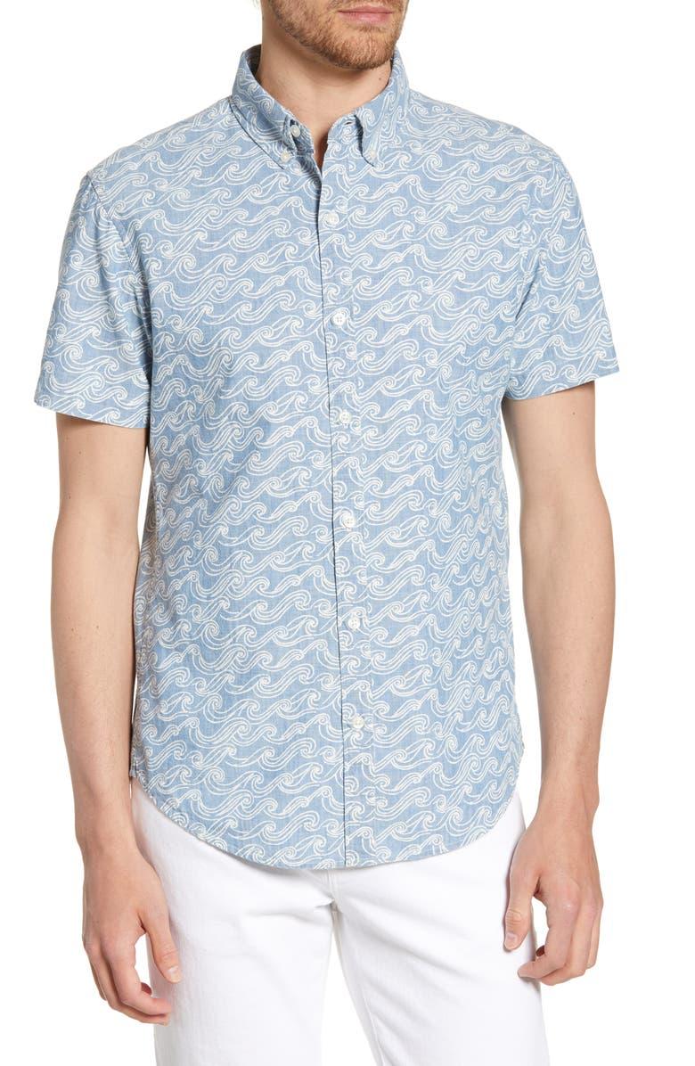 BONOBOS Riviera Slim Fit Sketch Wave Print Shirt, Main, color, SKETCH WAVE
