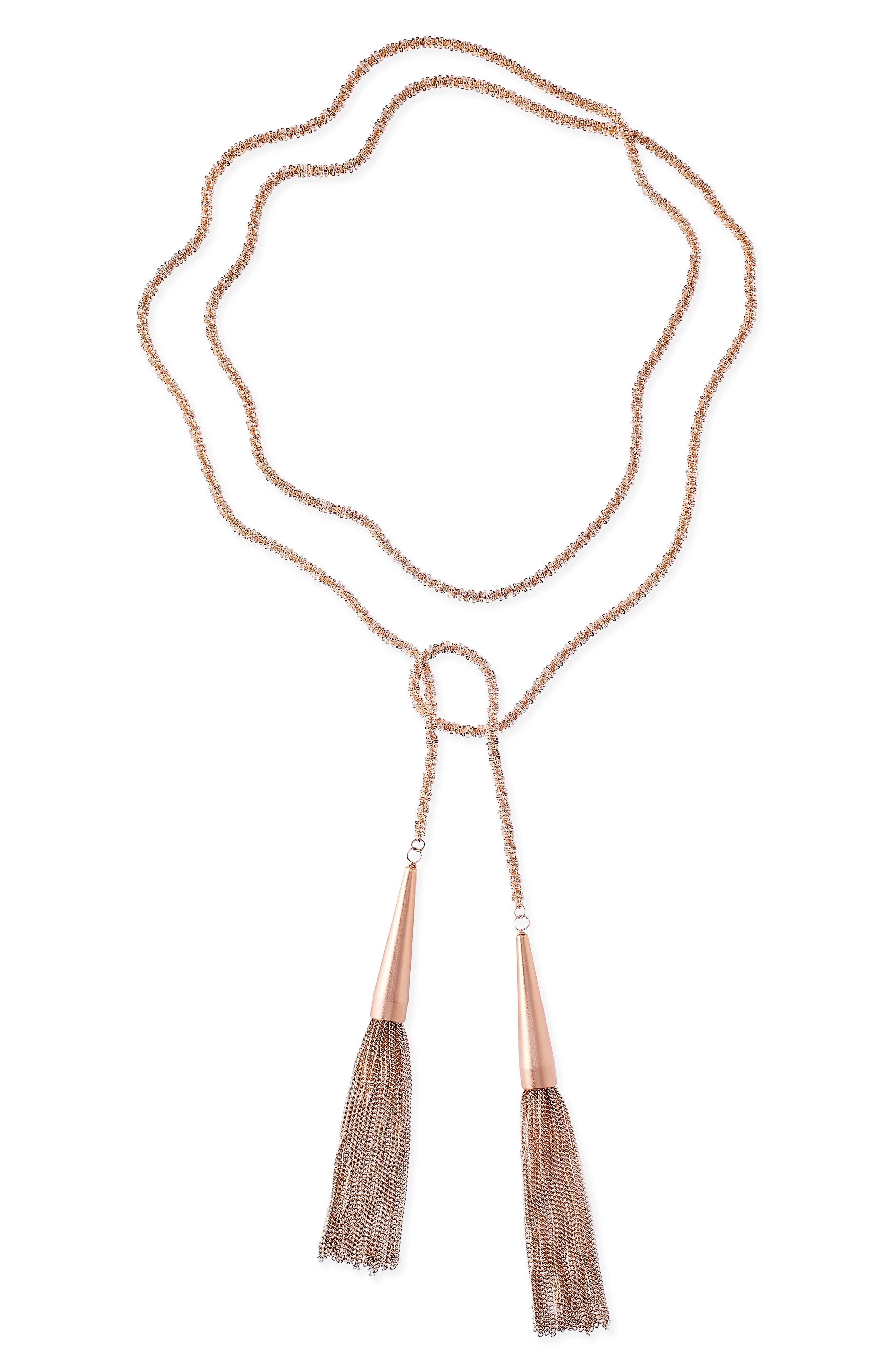 Phara Tassel Lariat Necklace, Main, color, ROSE GOLD