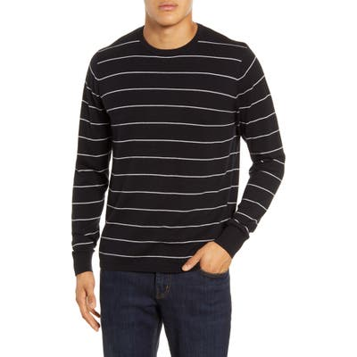 Calibrate Stripe Crewneck Sweater, Black