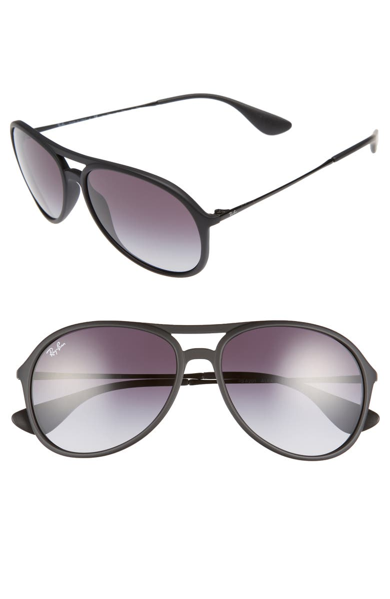 RAY-BAN Youngster 59mm Aviator Sunglasses, Main, color, MATTE BLACK